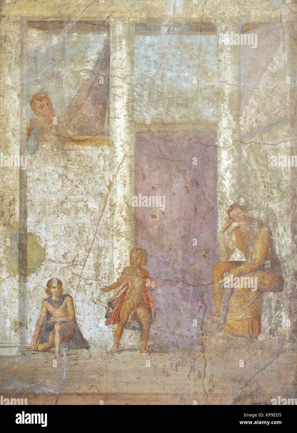 Roman fresco depicting Medea meditating on the killing of her children. House of Jason (20-25). Pompeii. National - Stock Image