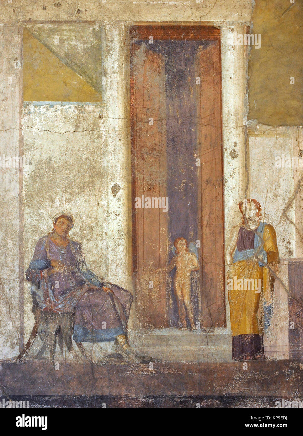 Roman fresco depicting Paris, seated, awaits the prize promised to him by Aphrodite. Eros, at the door, points to - Stock Image