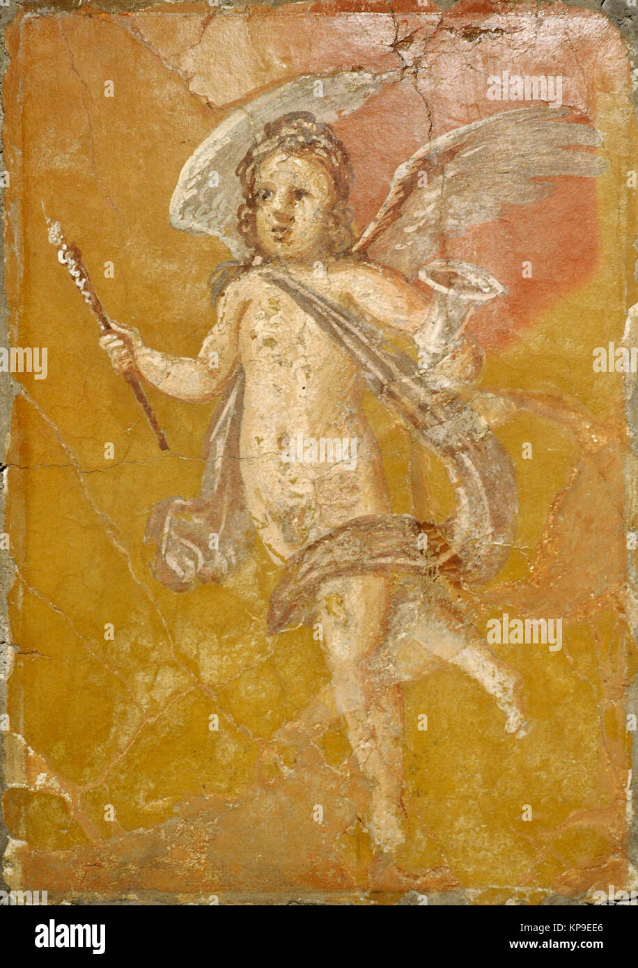 Roman fresco depicting Cupid with a torch and a kantharos. Villa of the Papyri. Herculaneum. National Archaeological - Stock Image