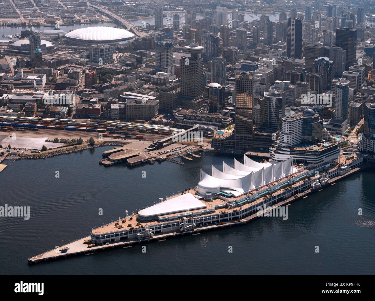 Aerial view of the City of Vancouver in British Columbia in western Canada showing the downtown waterfront with - Stock Image