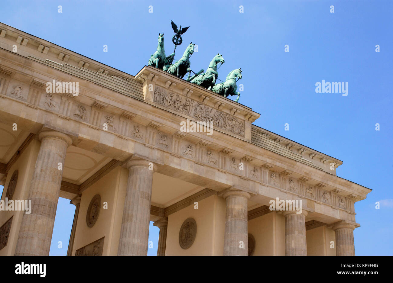 The Brandenburg Gate in the city of Berlin in Germany. It is a former city gate and is now the only remaining gate - Stock Image