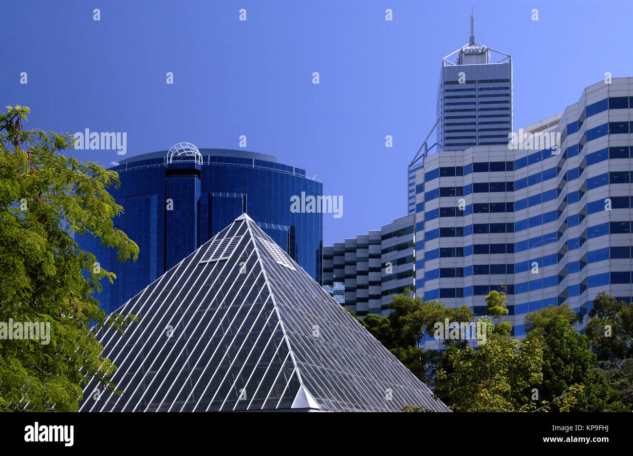 Modern architecture in the city of Perth, Australia. Perth is the capital and largest city of the Australian state - Stock Image