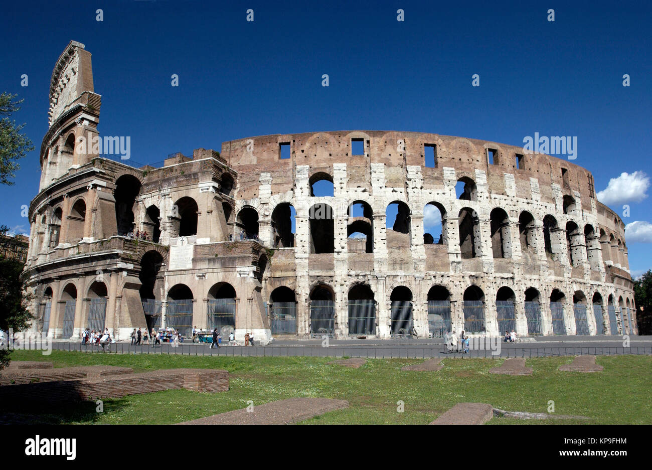 Ruins of the Colosseum in Rome in Italy.  Gladiatorial combat took place in this vast  amphitheater in Roman times. - Stock Image