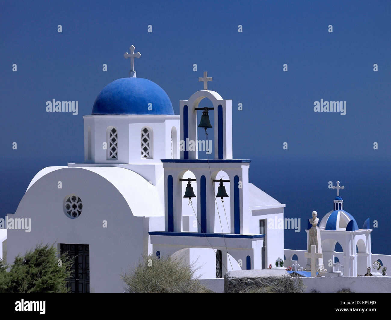 A Greek Orthodox Church on the volcanic island of Santorini in the Aegean Sea, about 200km southeast of mainland - Stock Image