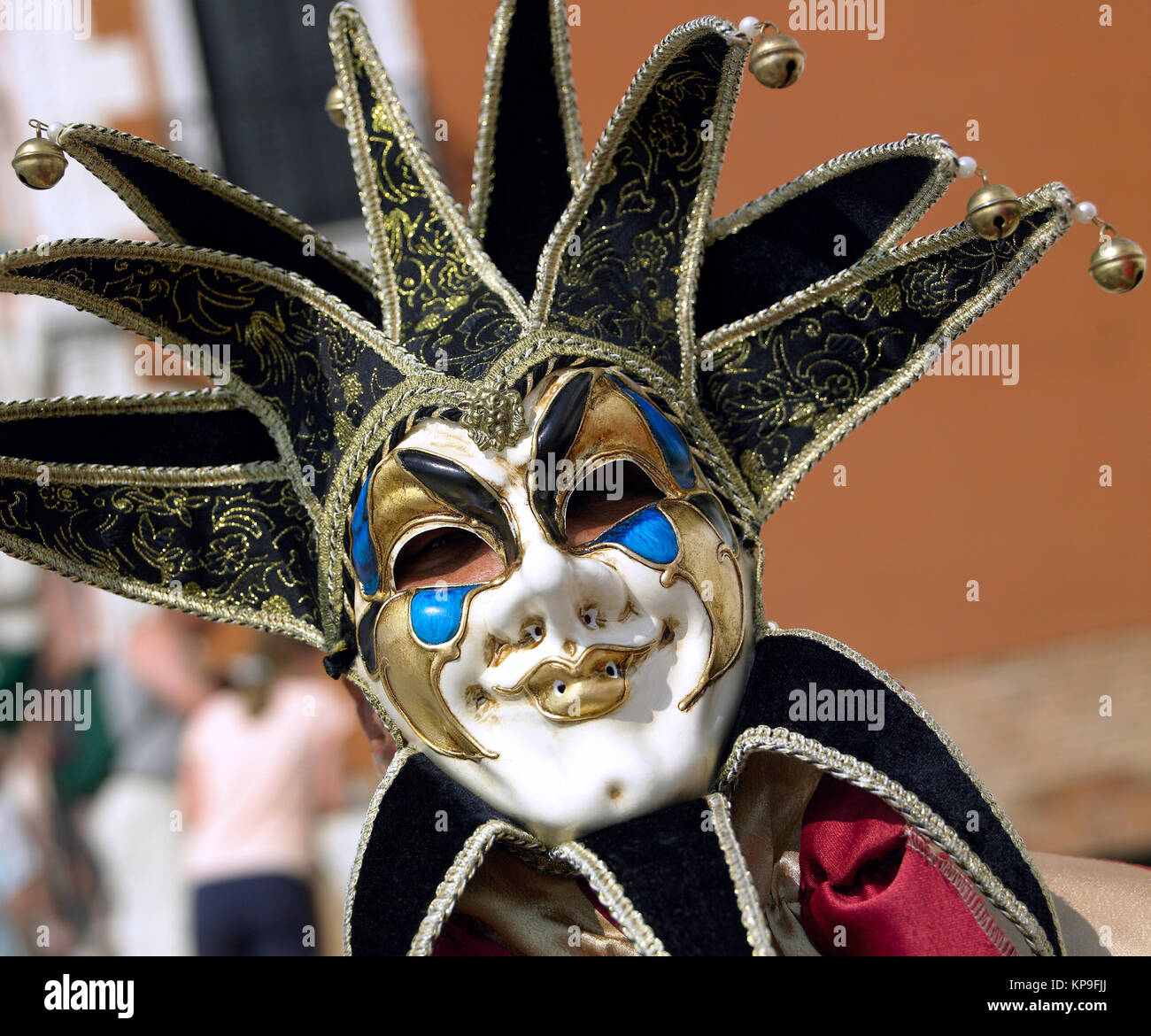 Masked figure at the Venice Carnival in the city of  Venice in northern Italy - Stock Image