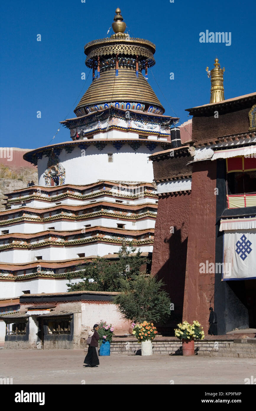 The Buddhist Kumbum in the town of Gyantse in the Tibet Autonomous Region of China. The Kumbum is a multi-storied - Stock Image