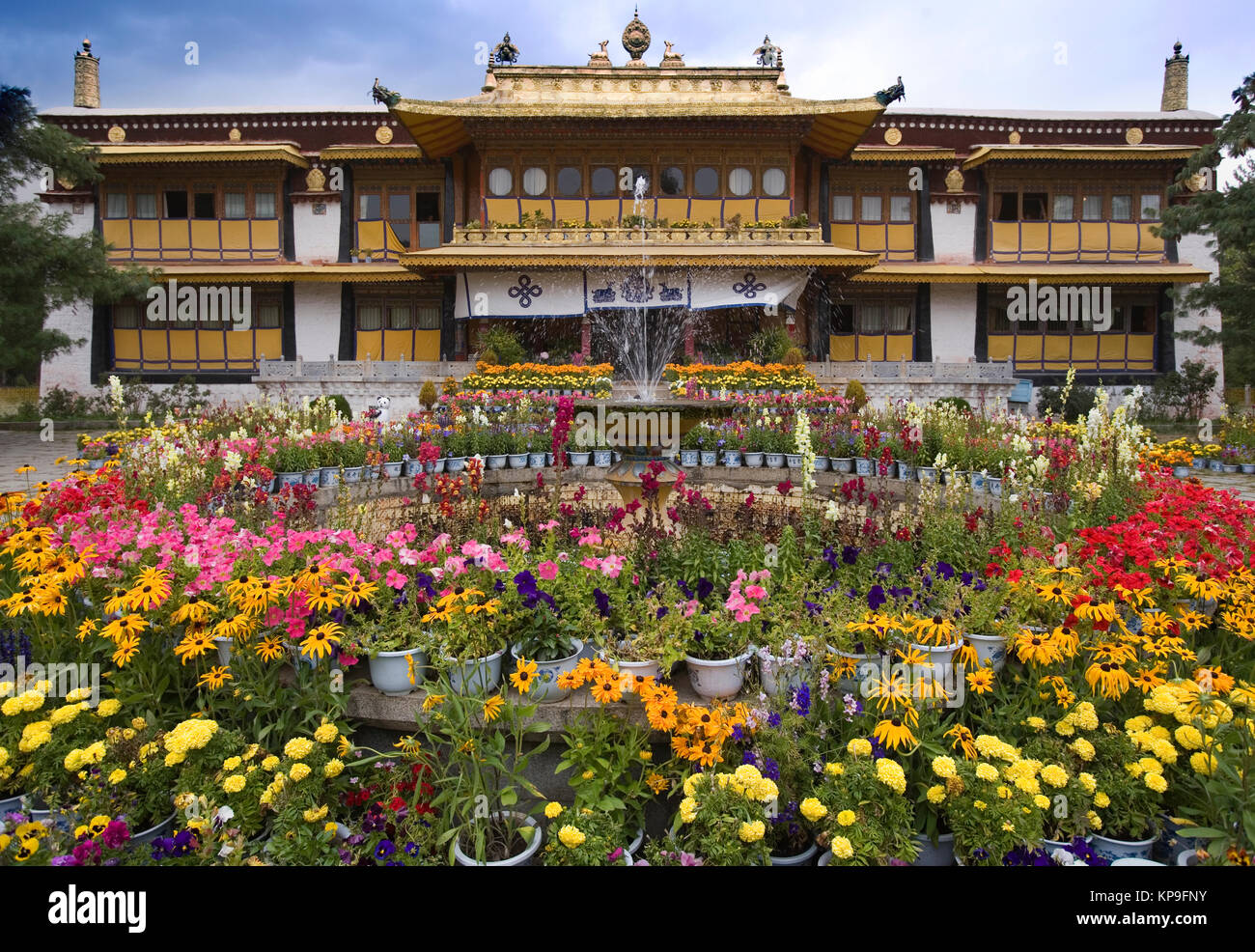 The Summer Palace of the Dali Lama in the Norbulingka in Lhasa in Tibet Autonomous region of China. - Stock Image