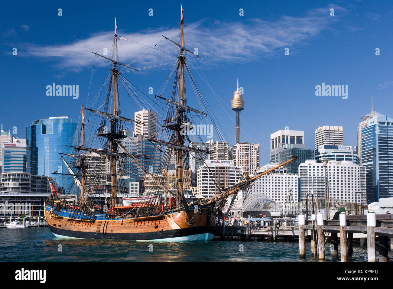 Replica sailing ship 'Endurance' in Darling Harbor in the city of Sydney, New South Wales, Australia. - Stock Image
