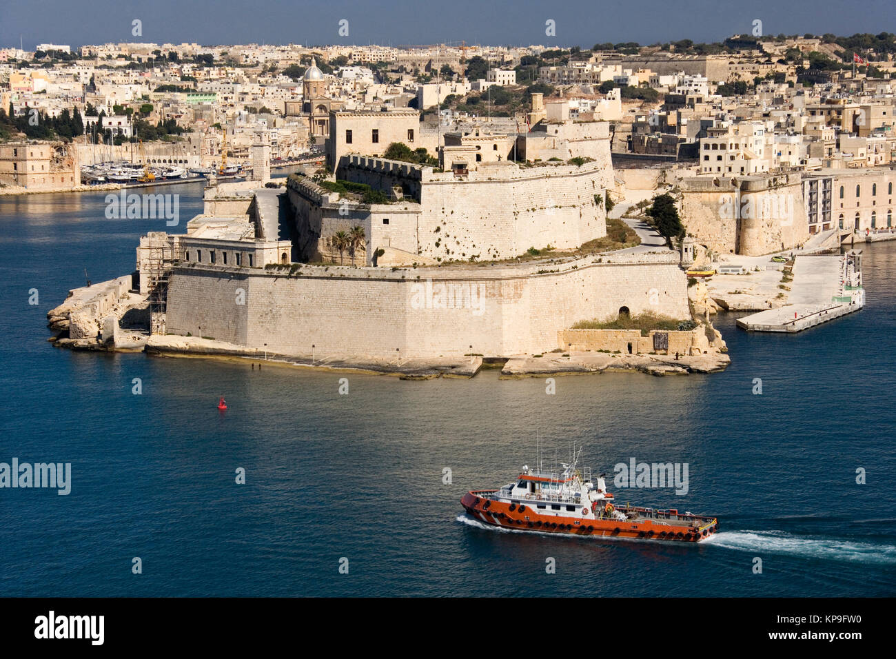 Fort St Angelo in the Grand Harbor of Valletta on the island of Malta - Stock Image