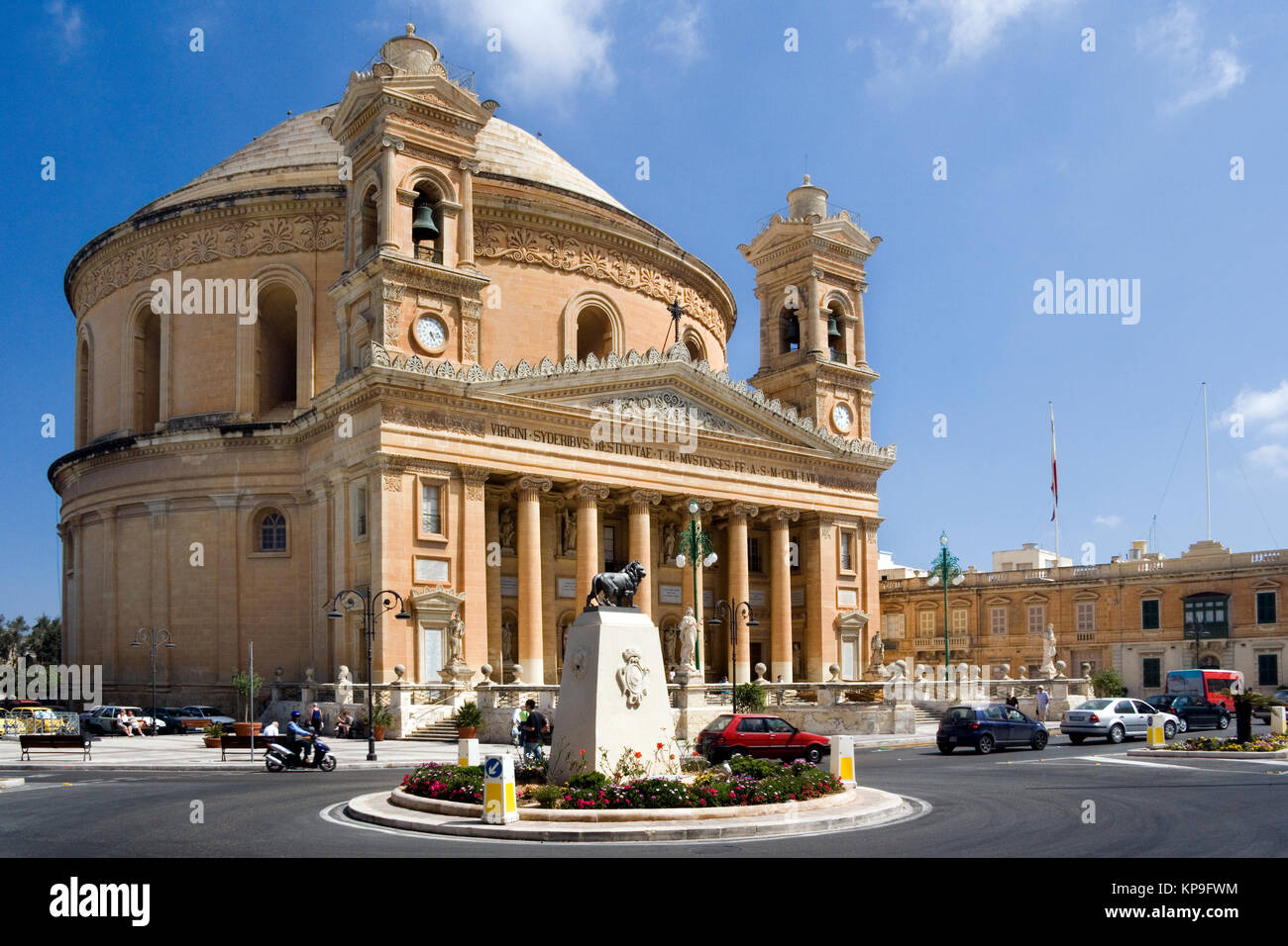 The Rotunda in the town of Mosta on the Island of Malta. The Cupola is one of the largest in the world at 60 meters - Stock Image