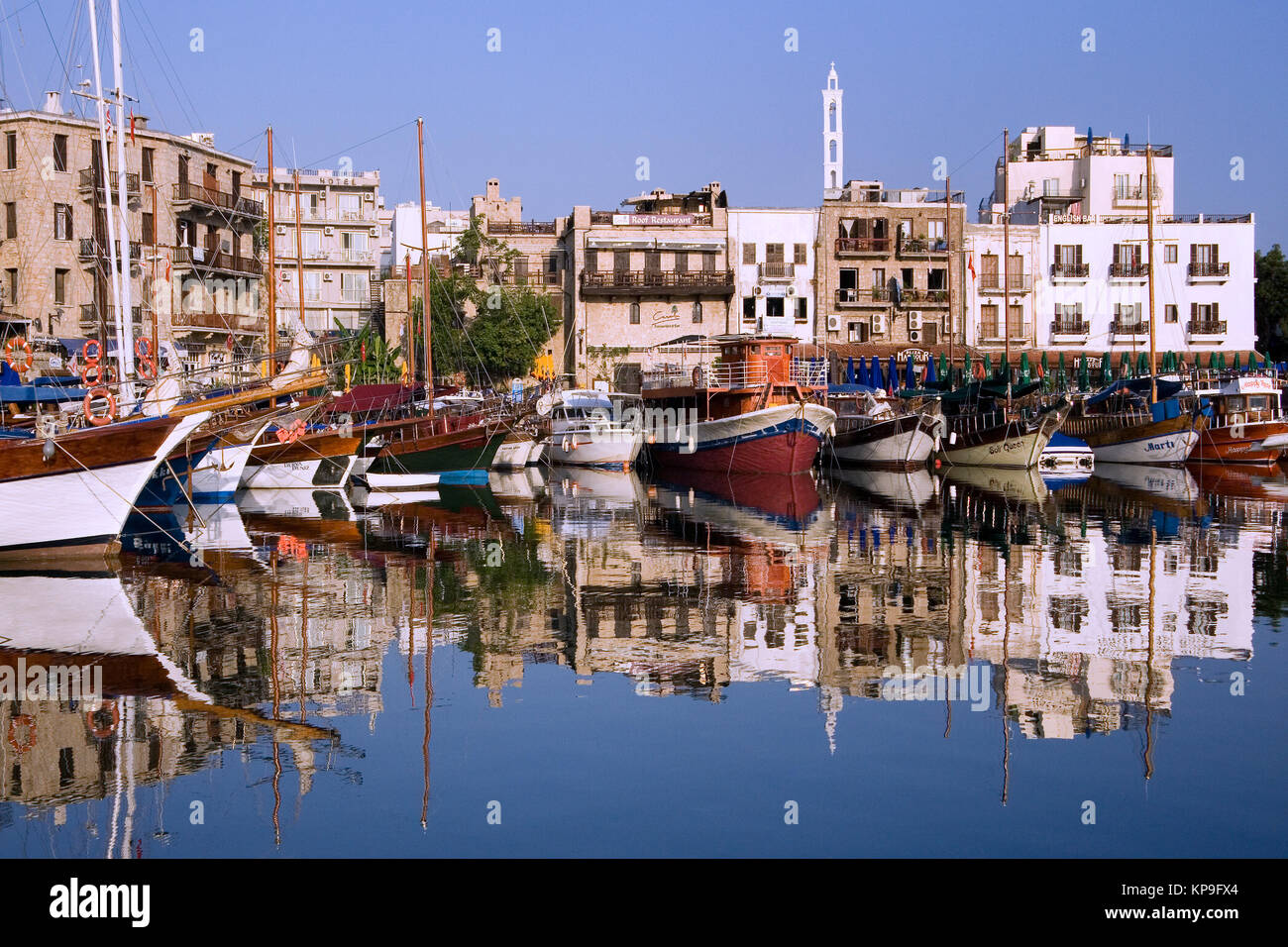 Kyrenia Harbor in the early morning. The Turkish Republic of Northern Cyprus. - Stock Image