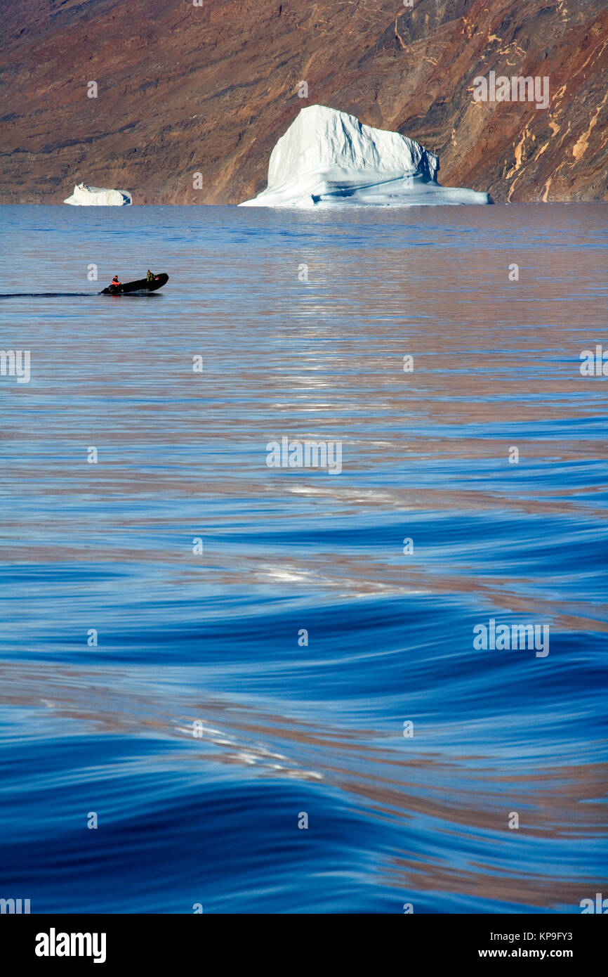 Icebergs grounded in Franz Joseph Fjord in eastern Greenland in the High Arctic. - Stock Image