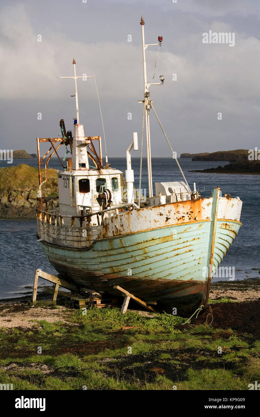 Old fishing boat at Stykkisholmur on the Snaefellsnes Peninsula on the west coast of Iceland. - Stock Image