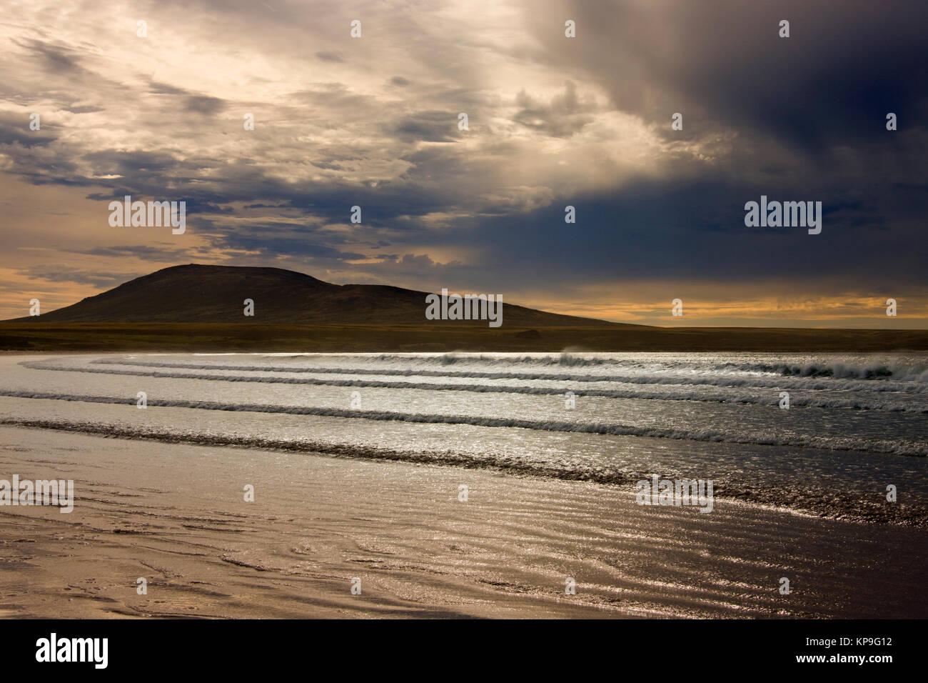 Dusk at Elephant Bay on Pebble Island in the Falkland Islands - Stock Image