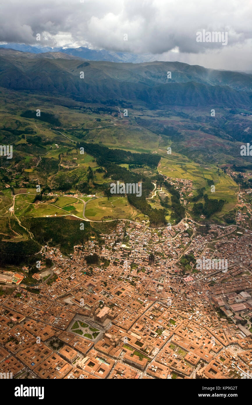 Aerial view of the city of Cuzco in Peru, South America. - Stock Image