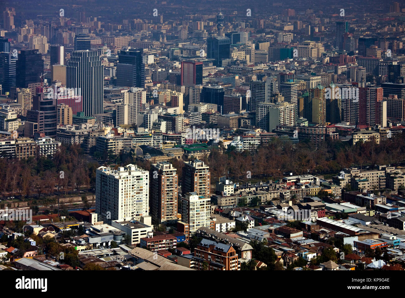 High level view of the city of Santiago in central Chile, South America. - Stock Image