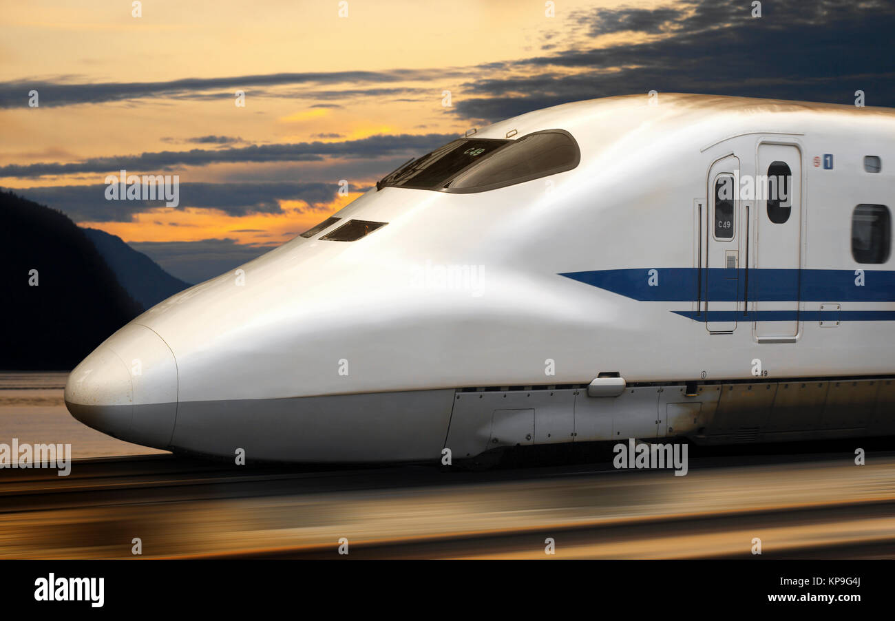 Shinkansen Bullet Train in Japan. The Shinkansen is a network of high-speed railway lines in Japan. Since the initial - Stock Image