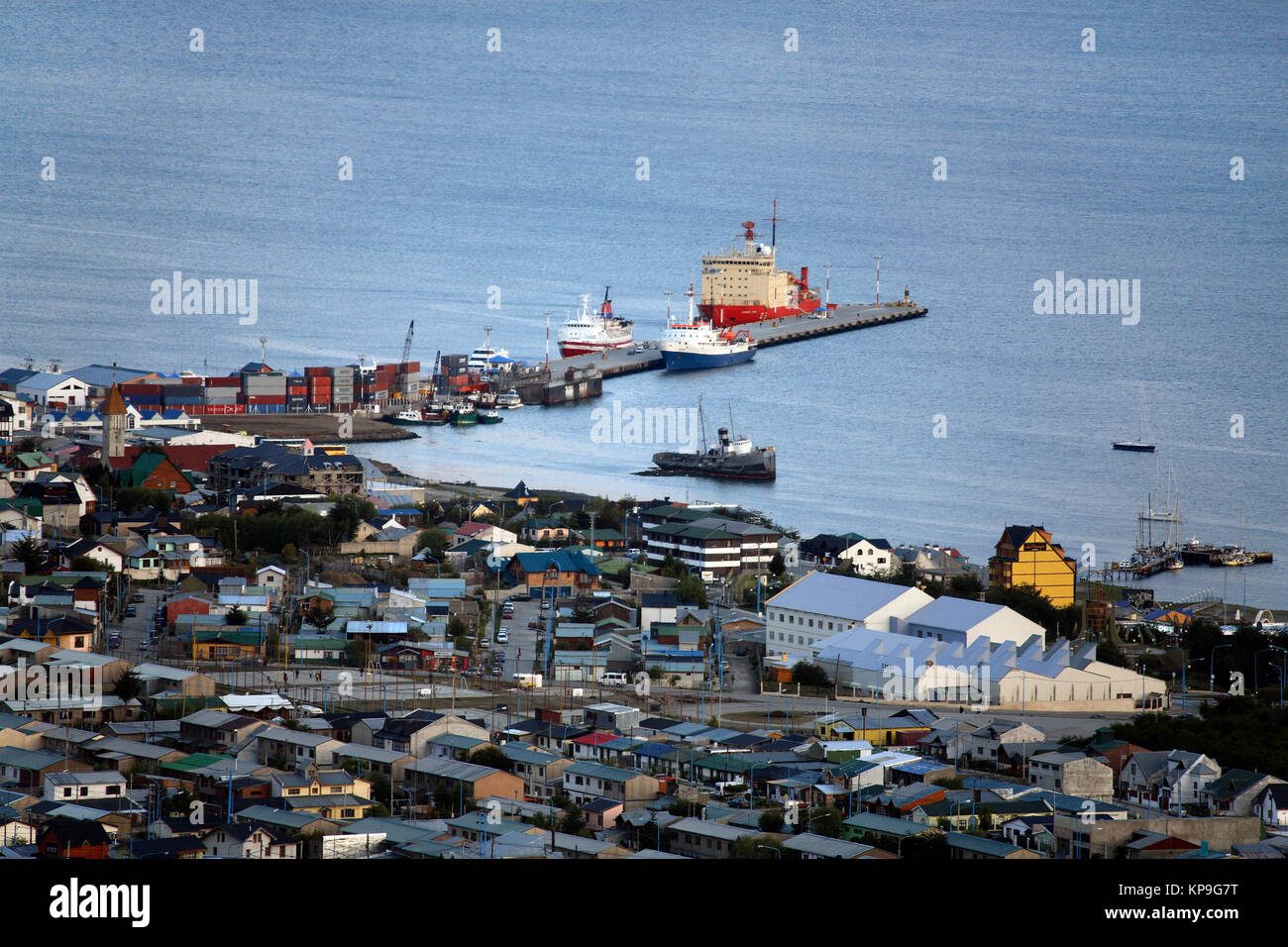 The port of Ushuaia in Tierra Del Fuego in southern Argentina. - Stock Image