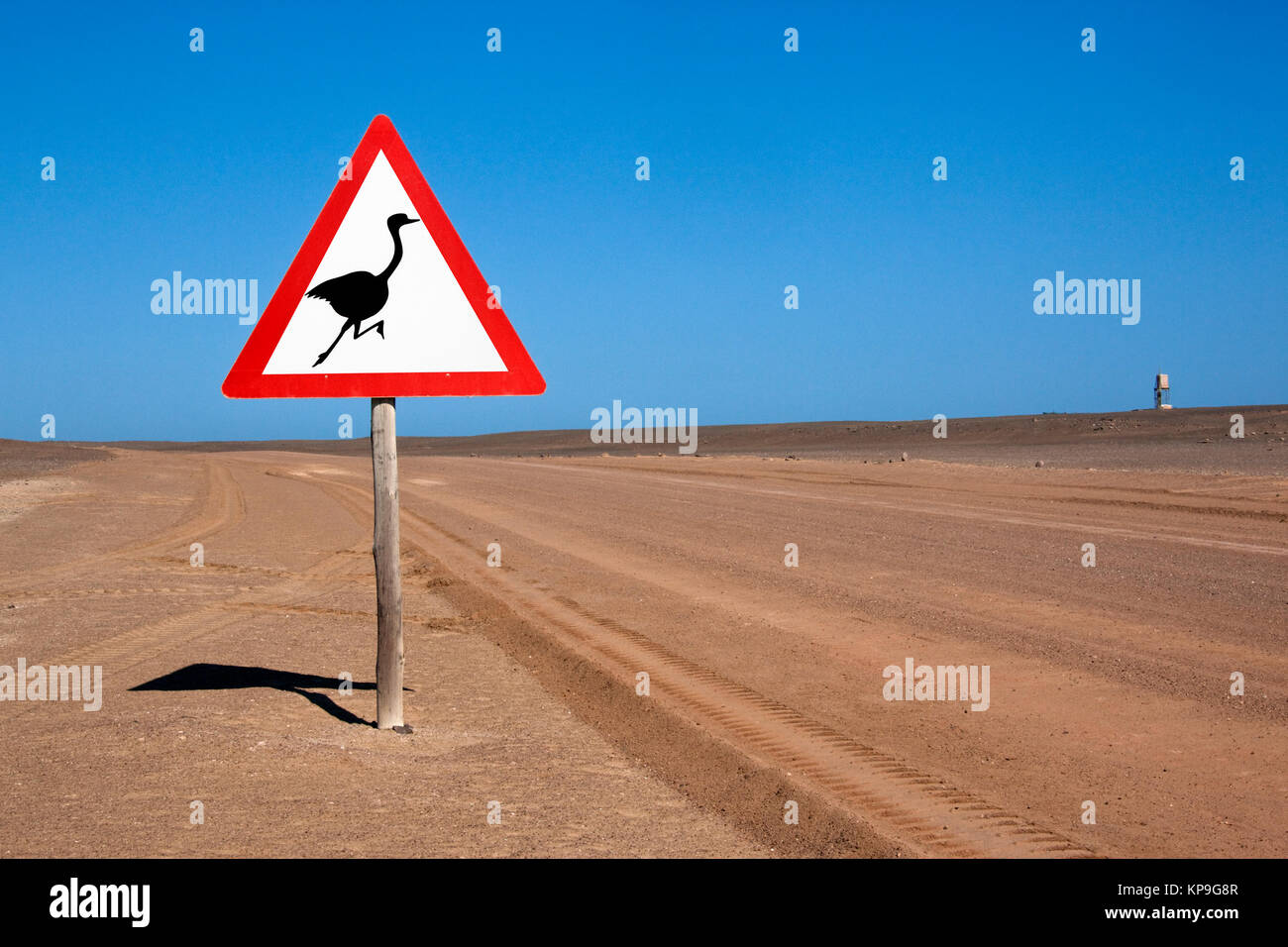 Road sign on a desert road in the Skeleton Coast National Park in the Namib Desert in Namibia - Stock Image