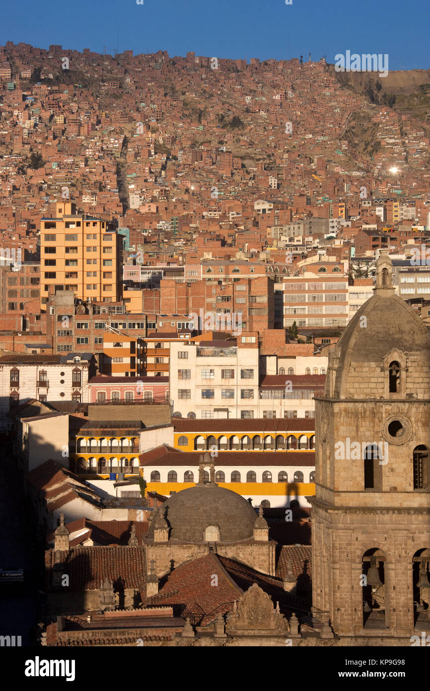 The overcrowded city of La Paz in Bolivia, South America - Stock Image