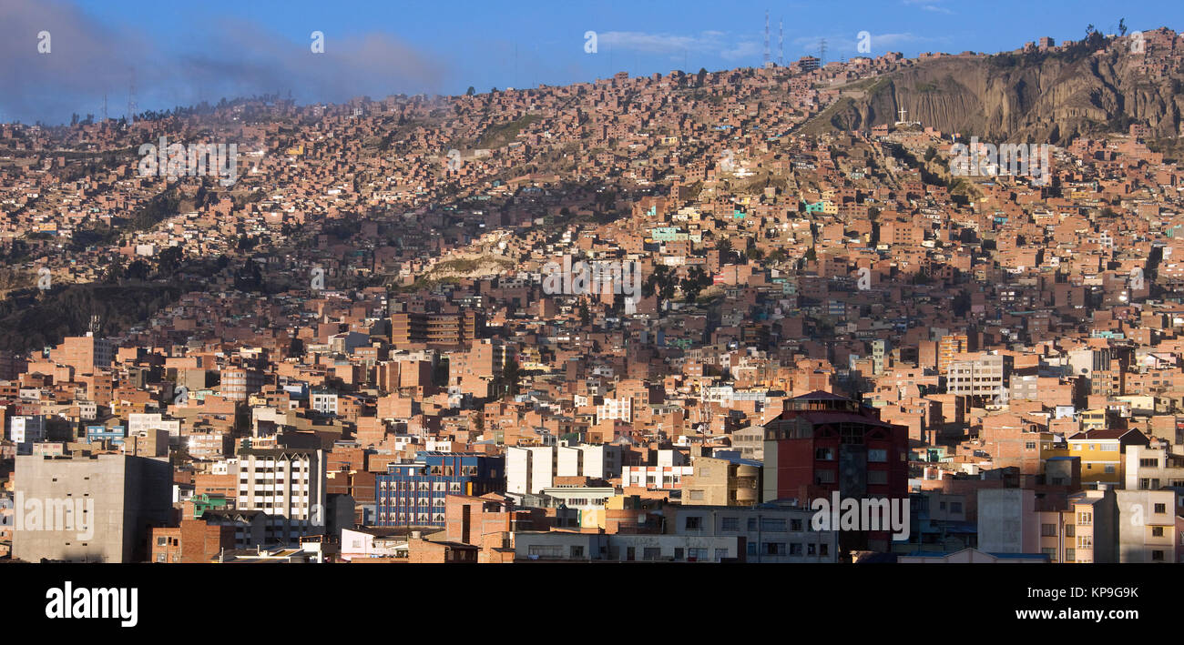 The overcrowded city of La Paz in Bolivia, South America. - Stock Image
