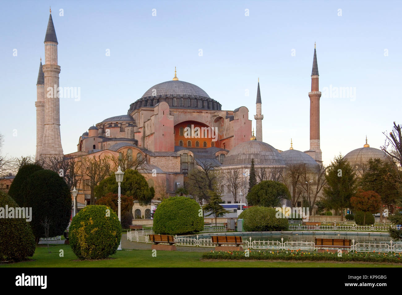 Hagia Sophia in the city of Istanbul in Turkey. From the date of its construction in 537AD, and until 1453, it served - Stock Image