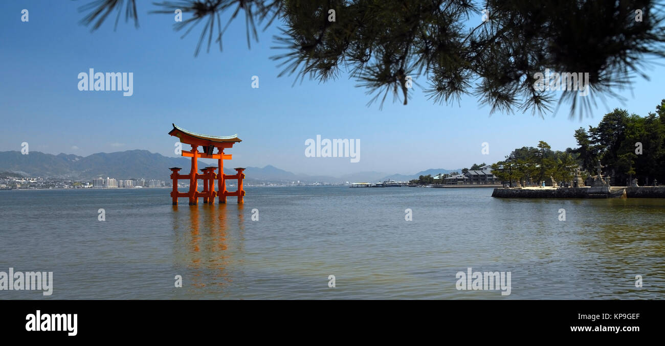 Torii Gate at Itsukushima Shinto Shrine on Miyajima Island in Japan. - Stock Image