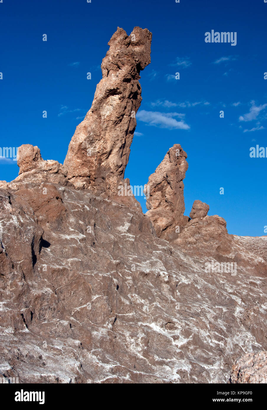 Rock formation in the Valley of the Dead in the Atacama Desert near San Pedro de Atacama, northern Chile, South - Stock Image