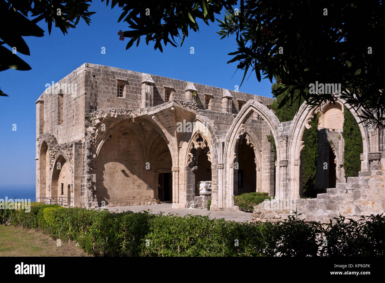 The Gothic monastery at Bellapais (Abbaye de la Paix) in the Turkish Republic of Northern Cyprus. - Stock Image