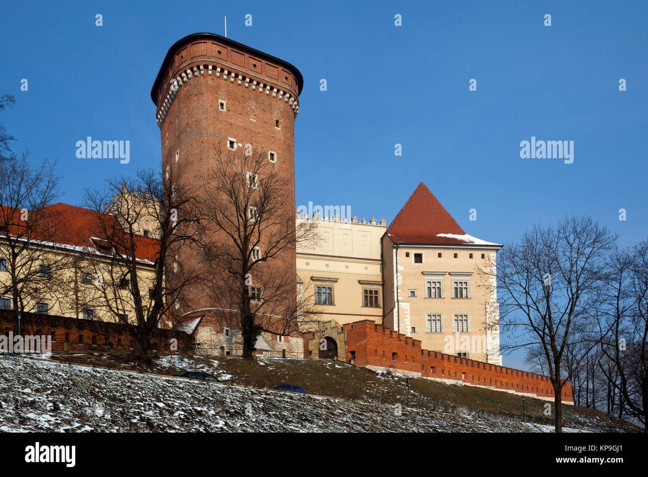 The Senatorska Tower at the Royal Castle on Wawel Hill in the city of Cracow in Poland. - Stock Image