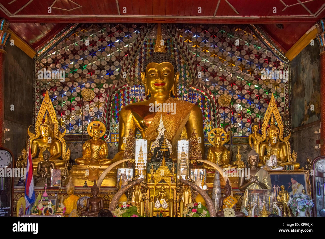 Buddha Images in the Doi Suthep Buddhist Temple near Chiang Mai in northern Thailand. - Stock Image