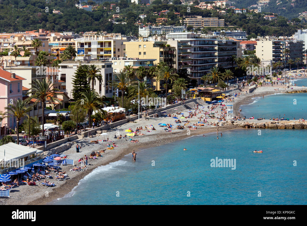 The Mediterranean resort of Cap Martin on the French Riviera near Monaco, in the Cote d'Azur region of the South - Stock Image