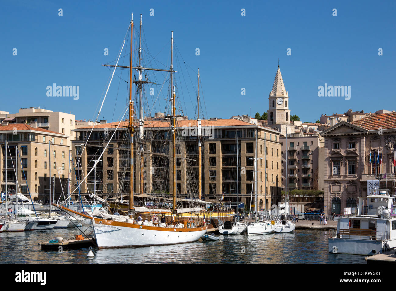 The Vieux Port area of the city of Marseille in the Cote d'Azur region of the South of France. - Stock Image