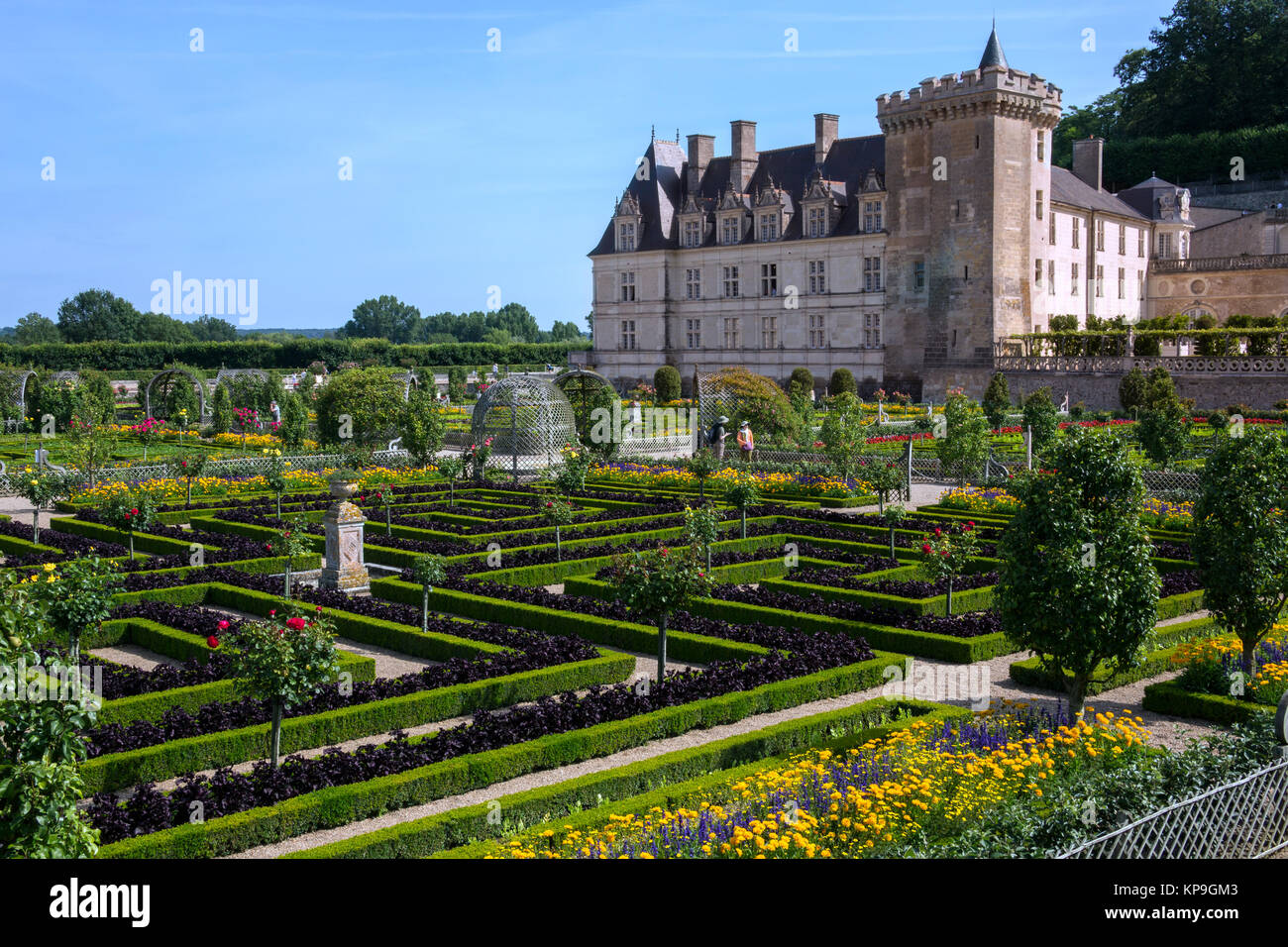 The 16th century chateau and gardens of Villandry in the Loire Valley in France. - Stock Image