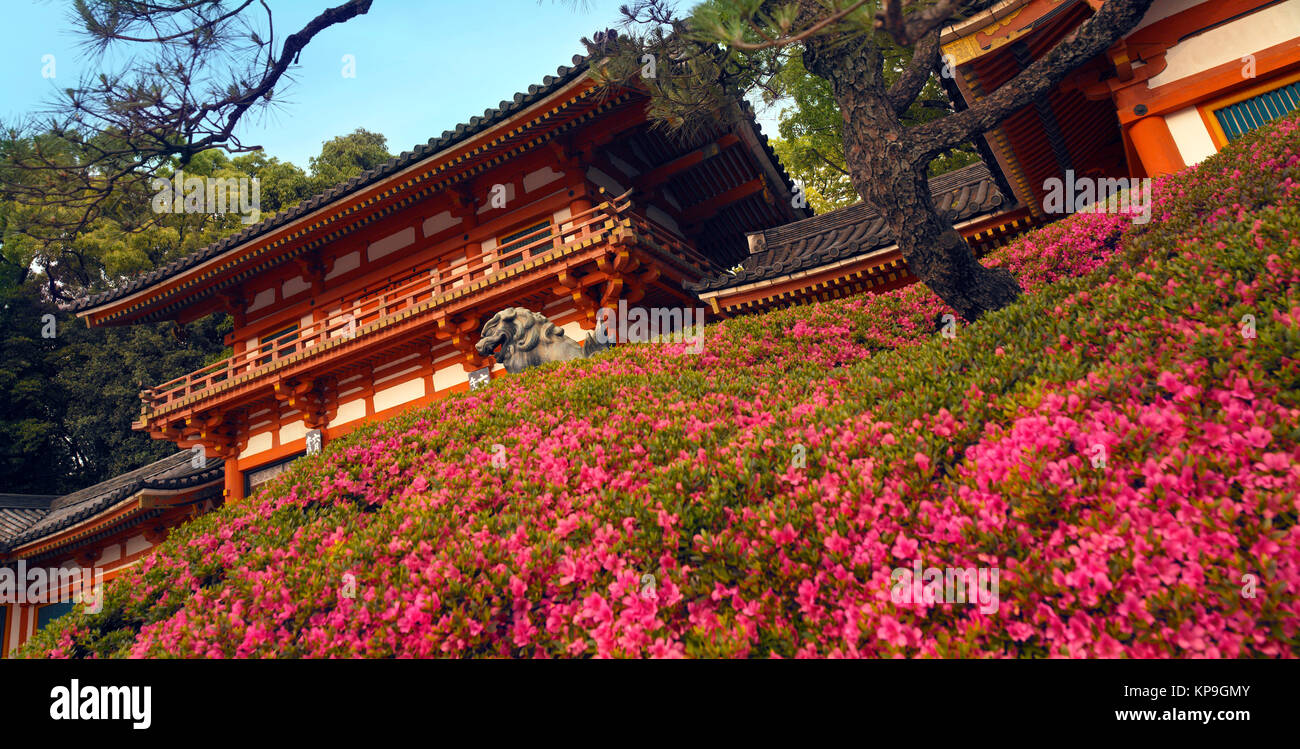 Yasaka Shrine in Maruyama Park in the Gion District of Kyoto, Japan. The park is a nationally designated Place of - Stock Image