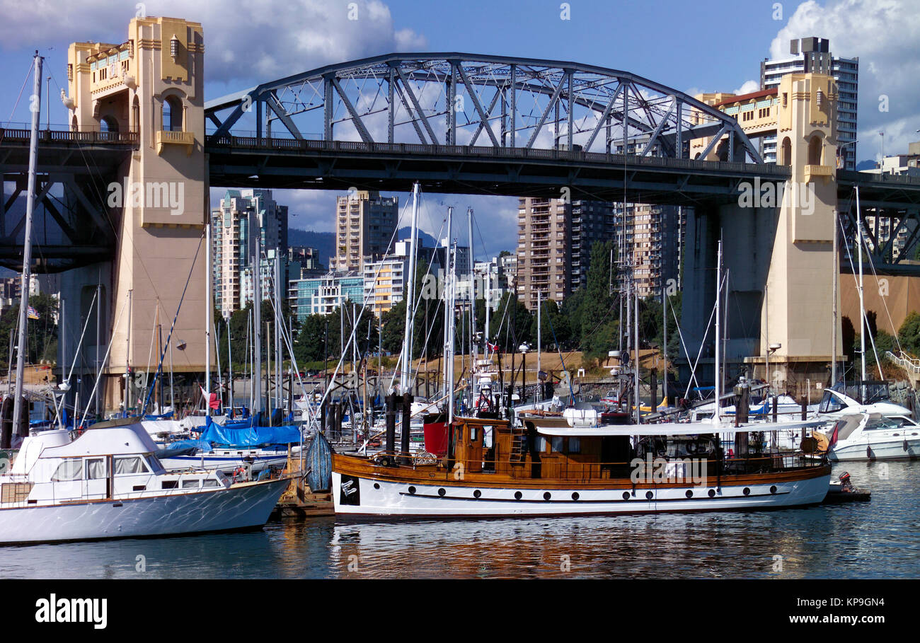 Burrard Bridge in the city of Vancouver in British Columbia in western Canada. It carries a five-lane highway over - Stock Image
