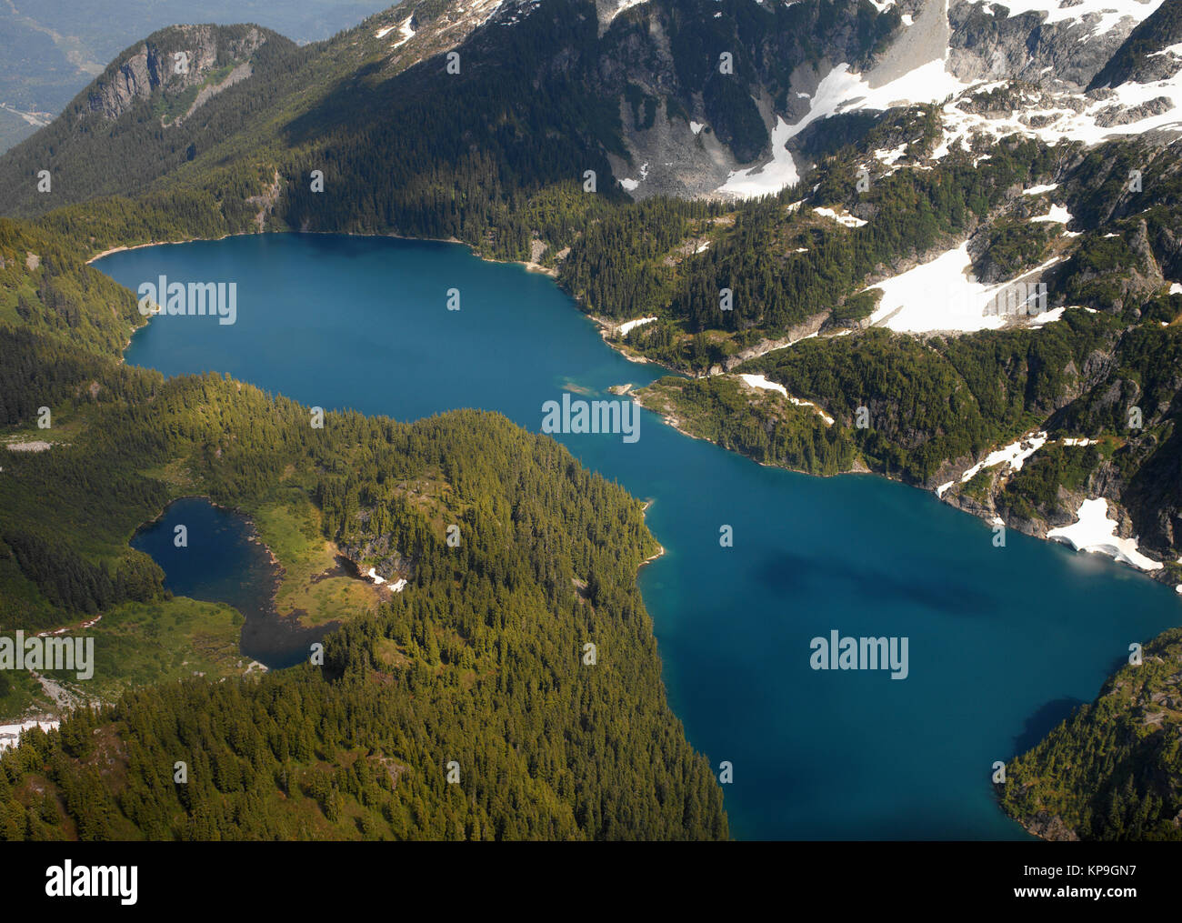 Aerial view of Lake Loverley in the Rocky Mountains in British Columbia, western Canada. - Stock Image
