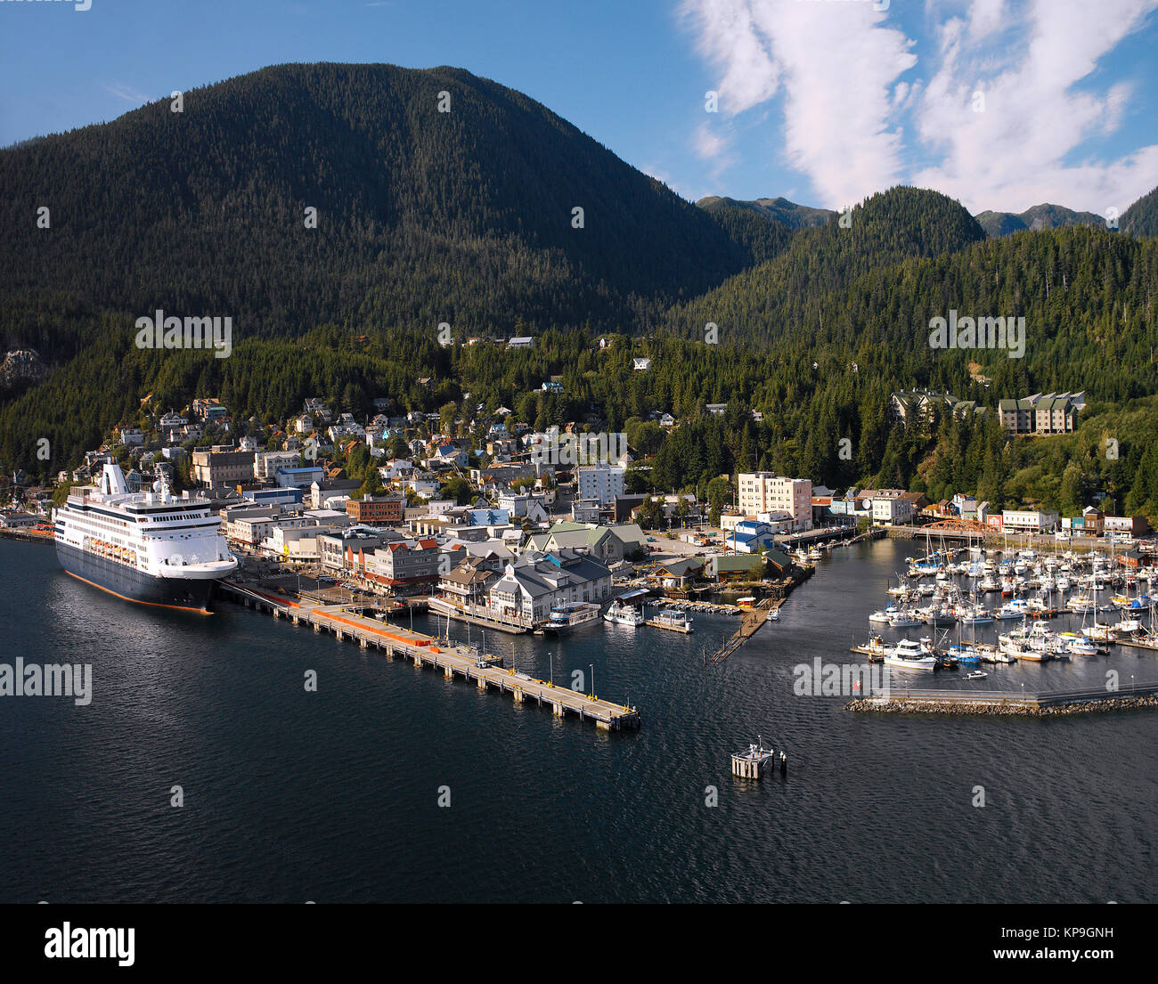 Aerial view of the Port of Ketchikan in Alaska, USA. - Stock Image