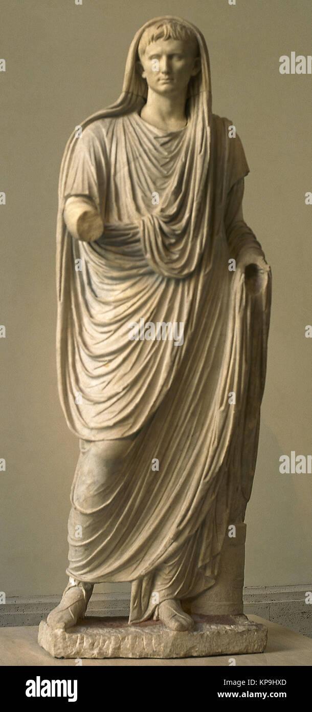 Emperor Augustus (63 BC-14AD) as Pontifex Maxiums. Late Augustan period, 1st century BC. Palazzo Massimo alle Terme - Stock Image