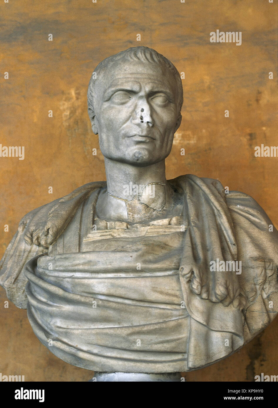 Julius Caesar (100BC-44 BC). Roman politician and general. Roman Republic. Marble bust. Baths of Diocletian (National - Stock Image