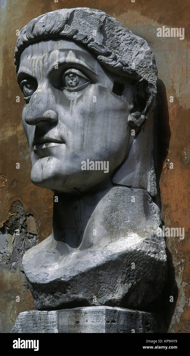 Colossus of Constantine the Great (280-337). Roman emperor. Head. White marble. Capitoline Museums. Rome. Italy. - Stock Image