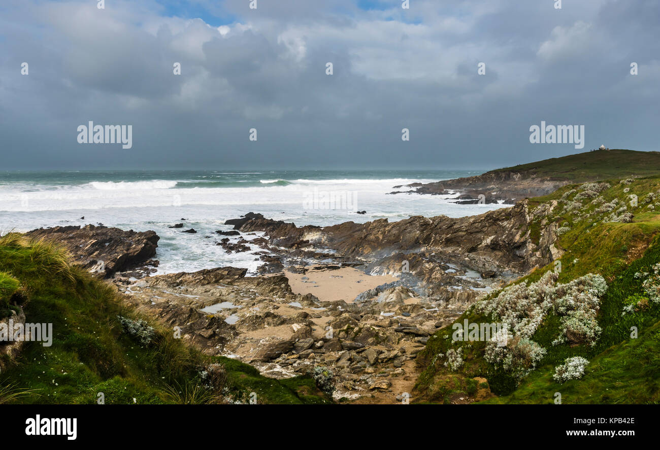 Atlantic Storm Brian raging at Fistral Beach, Cornwall, UK - Stock Image