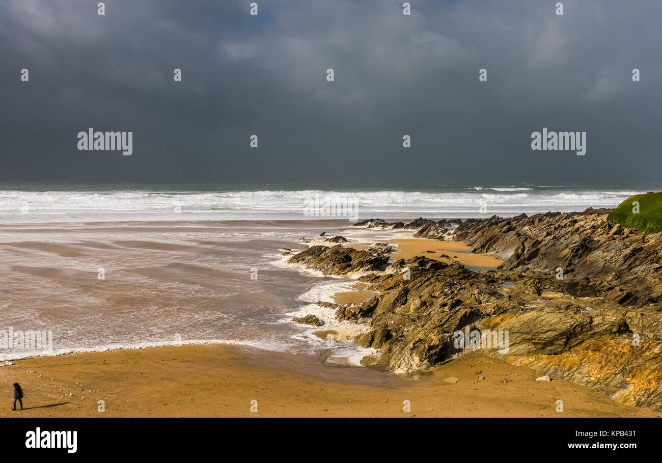 Atlantic Storm Brian foaming at Fistral Beach, Cornwall, UK - Stock Image