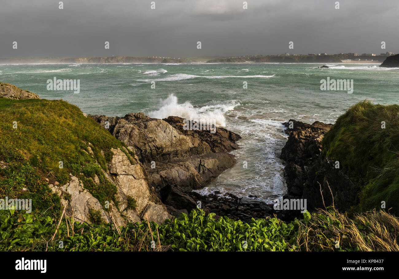 Atlantic Storm Brian raging at Newquay, Cornwall, UK - Stock Image