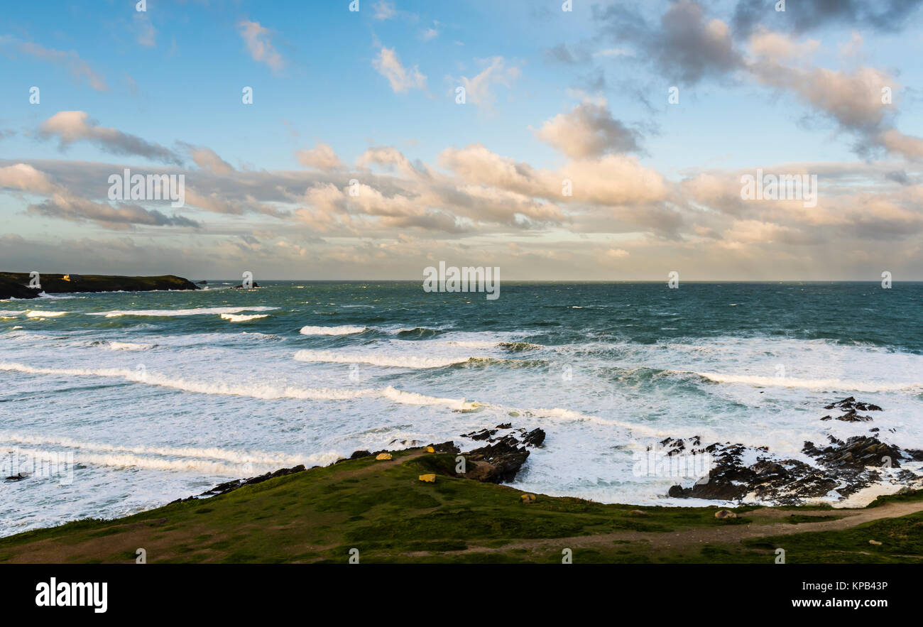 Atlantic Storm Brian at dawn on Fistral Beach, Cornwall, UK - Stock Image