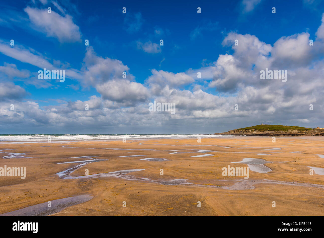 Atlantic Storm Brian on Fistral Beach, Cornwall, UK - Stock Image