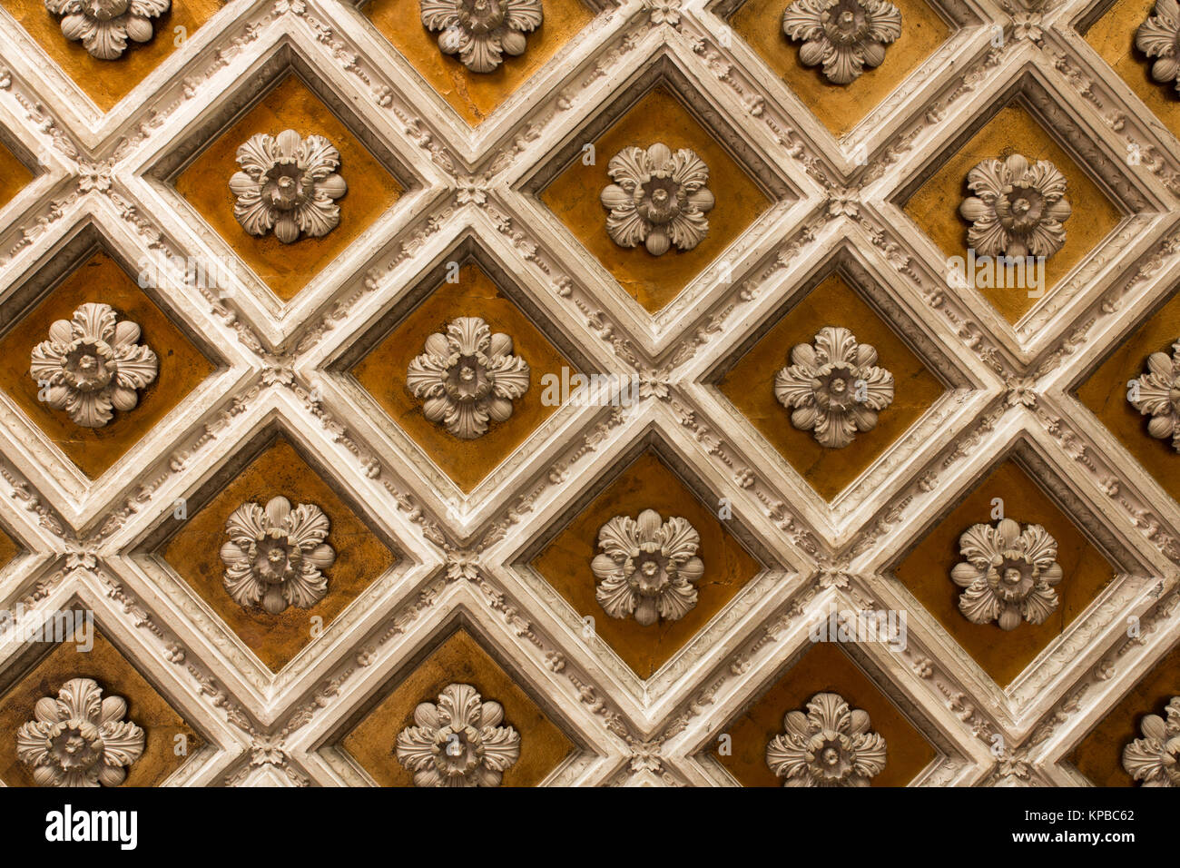 Antique wooden ornamentet ceiling - Stock Image