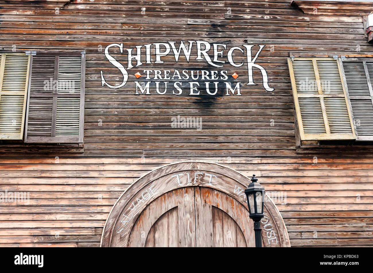 Shipwreck Treasures Museum old wooden exterior (1849) Key West Florida - Stock Image