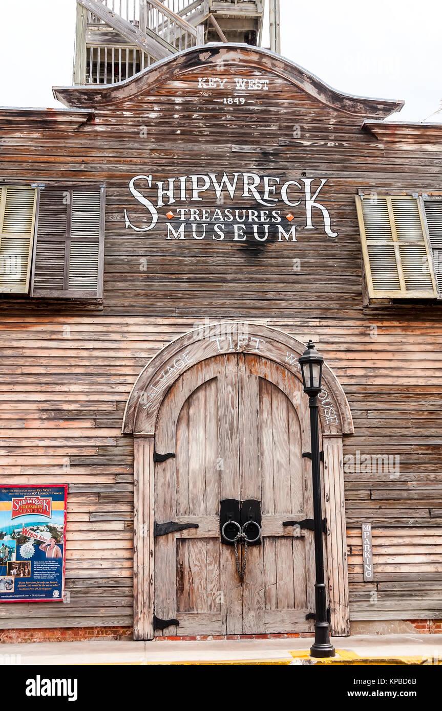 Shipwreck Tresures Museum old wooden exterior (1849) Key West Florida - Stock Image