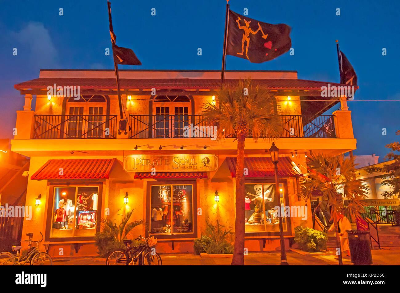 Pirate Soul Museum exterior at night, Key West, florida - Stock Image